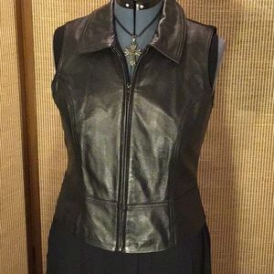 Leather Motorcycle Vest with knit stretchy back.